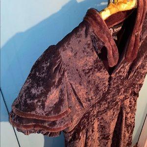 sretsis Dresses - Vintage Brown Velvet Mini Dress